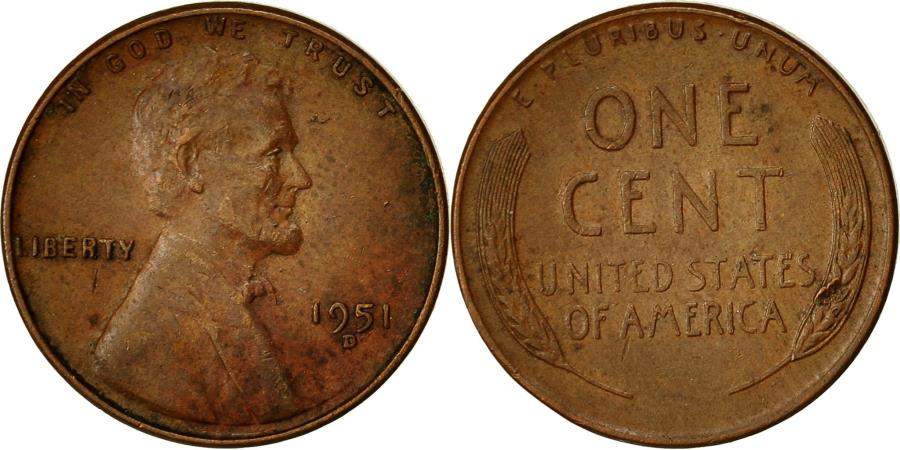 US Coins - Coin, United States, Lincoln Cent, Cent, 1951, U.S. Mint, Denver,