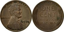 Us Coins - United States, Lincoln Cent, Cent, 1949, U.S. Mint, Philadelphia, EF(40-45)