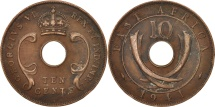 World Coins - EAST AFRICA, George VI, 10 Cents, 1941, EF(40-45), Bronze, KM:26.1