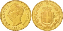 World Coins - Italy, Umberto I, 20 Lire, 1882, Rome, AU(55-58), Gold, KM:21