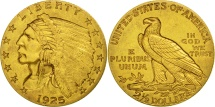 Us Coins - United States, Indian Head, $2.50, 1925, Denver, AU(50-53), Gold, KM:128