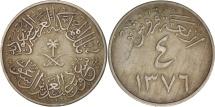 Saudi Arabia, UNITED KINGDOMS, 4 Ghirsh, 1956, EF(40-45), Copper-nickel, KM:42