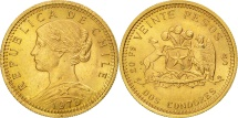 World Coins - Chile, 20 Pesos, 1976, MS(63), Gold, KM:188