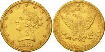 Us Coins - United States, Coronet Head, $10, 1881, Philadelphia, AU(50-53), Gold, KM:102