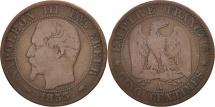 World Coins - France, Napoleon III, 5 Centimes, 1853, Paris, F(12-15), Bronze, KM 777.1