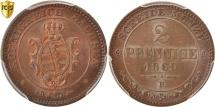 World Coins - German States, SAXONY, 2 Pfennig, 1869, PCGS, MS66BN, KM:1217