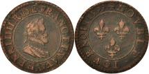 France, Henri IV, Double Tournois, 1599, Paris, EF(40-45), Copper, Sombart:4184