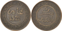 World Coins - MOROCCO, 5 Mazunas, 1903, Birmingham, KM #16.1, , Bronze, Lecompte...