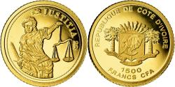 World Coins - Coin, Ivory Coast, Justice, 1500 Francs CFA, Proof, , Gold