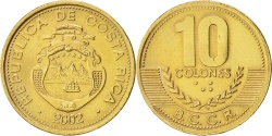 World Coins - Costa Rica, 10 Colones, 2002, KM:228.2