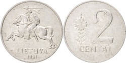 World Coins - LITHUANIA, 2 Centai, 1991, KM #86, , Aluminum, 21.75, 1.11