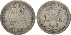Us Coins - United States, Seated Liberty Dime, 1890, Philadelphia, F, KM:A92
