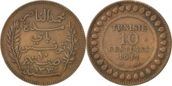 World Coins - TUNISIA, 10 Centimes, 1912, Paris, KM #236, , Bronze, 9.68