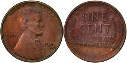 Us Coins - United States, Lincoln Cent, Cent, 1951, U.S. Mint, Denver, , Brass