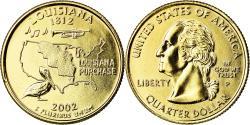 Us Coins - Coin, United States, Louisiana, Quarter, 2002, U.S. Mint, Philadelphia, golden
