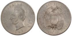 World Coins - ECUADOR, 5 Sucres, Cinco, 1943, Mexico City, KM #79, , Silver, 24.97
