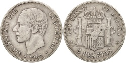 World Coins - Spain, Alfonso XII, 2 Pesetas, 1882, Madrid, , Silver, KM:678.2