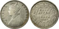 World Coins - Coin, INDIA-BRITISH, Victoria, 1/2 Rupee, 1887, , Silver, KM:491