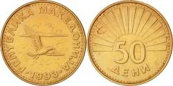 World Coins - Macedonia, 50 Deni, 1993, , Brass, KM:1