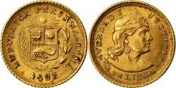 World Coins - Coin, Peru, 1/5 Libra, Pound, 1923, Lima, AU(55-58), Gold, KM:210