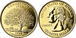 Us Coins - Coin, United States, Connecticut, Quarter, 1999, U.S. Mint, Denver, golden