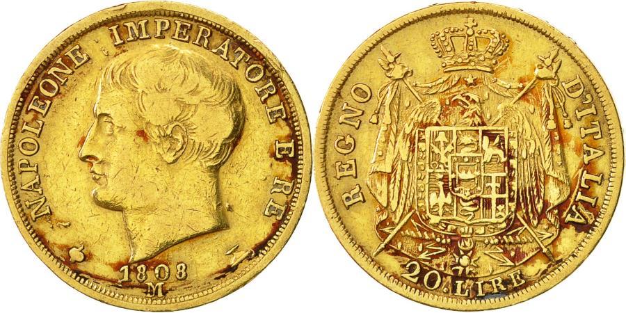 World Coins - Coin, Italy, Kingdom of Napoleon I, 20 Lire, 1808, Milan, , Gold, KM 11