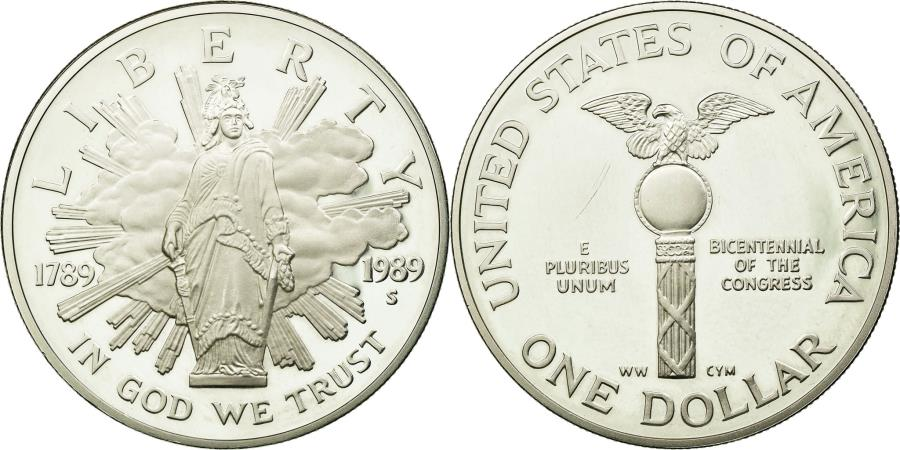 US Coins - Coin, United States, Dollar, 1989, U.S. Mint, San Francisco, MS(63), Silver