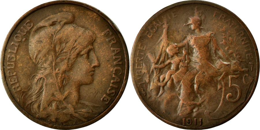 World Coins - Coin, France, Dupuis, 5 Centimes, 1911, EF(40-45), Bronze, Gadoury:165
