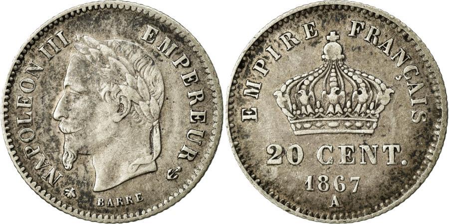 World Coins - Coin, France, Napoleon III, Napoléon III, 20 Centimes, 1867, Paris, EF(40-45)