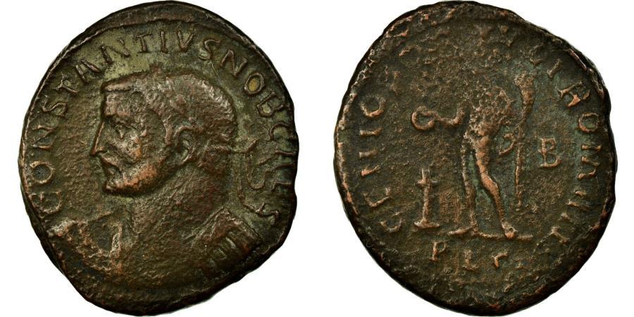 Ancient Coins - Coin, Constantius I, Follis, Lyons, VF(30-35), Copper, Cohen:63