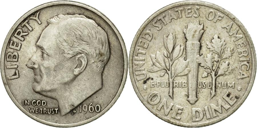 US Coins - Coin, United States, Roosevelt Dime, Dime, 1960, U.S. Mint, Philadelphia
