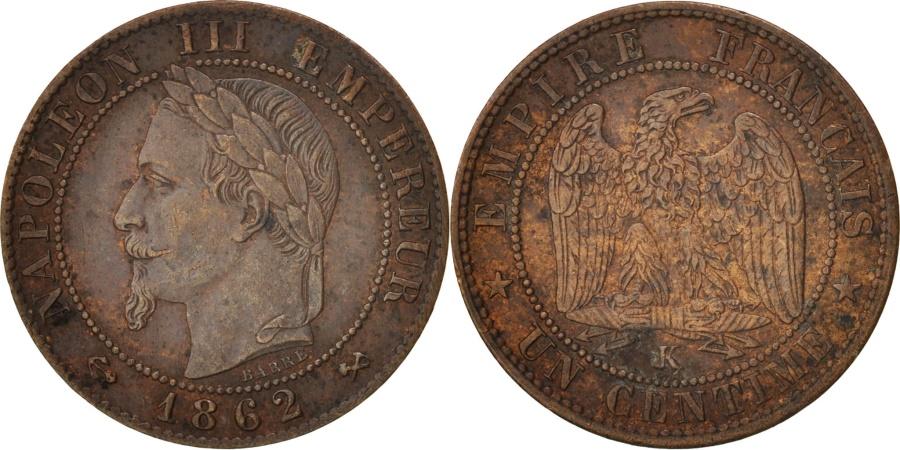 World Coins - France, Napoleon III, Centime, 1862, Bordeaux, Bronze, KM:795.3
