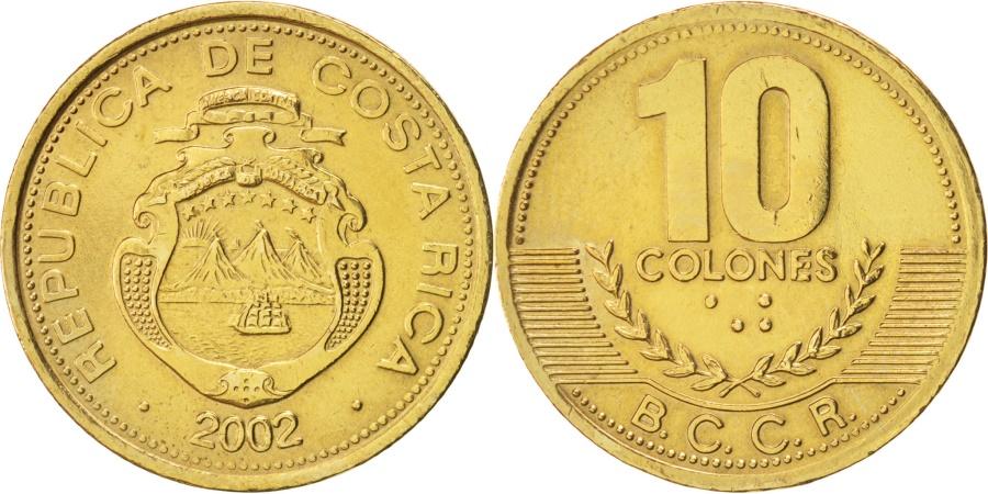 World Coins - Costa Rica, 10 Colones, 2002, KM:228.2