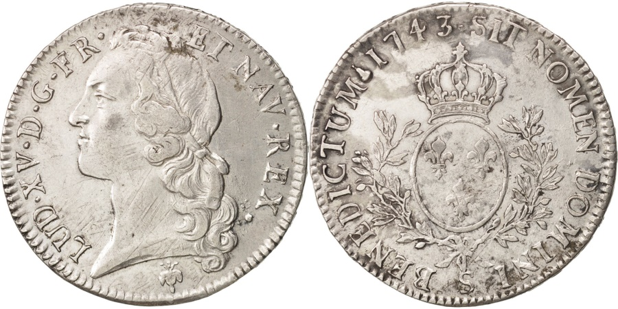World Coins - France, Louis XV, Écu au bandeau, 1743, Reims, , Silver,KM 512.19