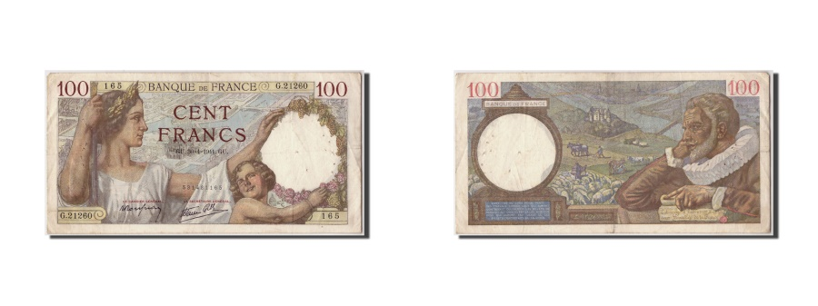 World Coins - France, 100 Francs, 100 F 1939-1942 ''Sully'', 1941, KM #94, 1941-04-30,...