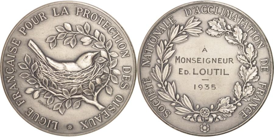 World Coins - France, Ligue Française pour la protection des oiseaux, 1935, Medal