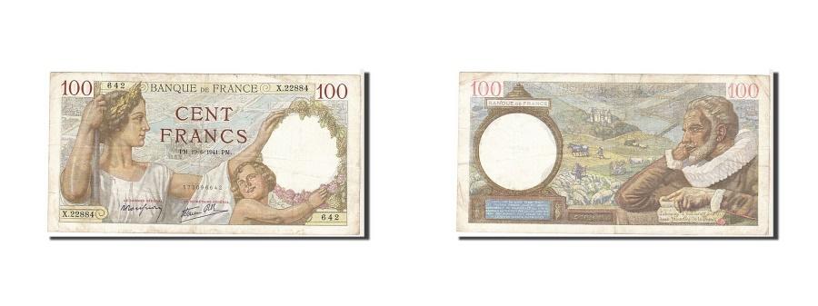 World Coins - France, 100 Francs, 100 F 1939-1942 ''Sully'', 1941, KM #94, VF(20-25), X22884,.