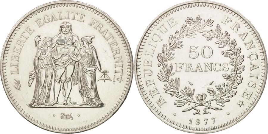 World Coins - France, Hercule, 50 Francs, 1977, Paris, , Silver, KM:941.1,Gadoury 882