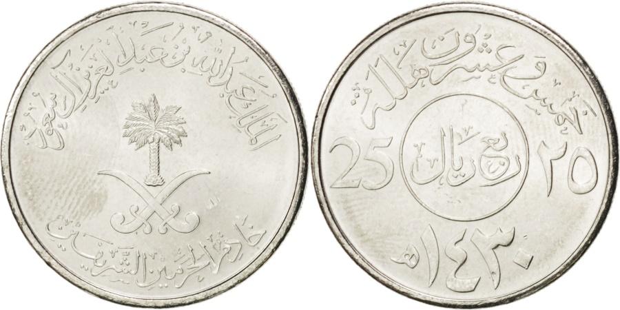 World Coins - SAUDI ARABIA, 25 Halala, 1/4 Riyal, 2009, Royal Mint, KM #71, ,...