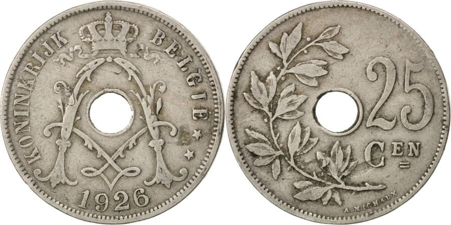 World Coins - BELGIUM, 25 Centimes, 1926, KM #69, , Copper-Nickel, 26, 6.40