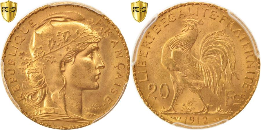 World Coins - Coin, France, Marianne, 20 Francs, 1912, PCGS, MS66, , Gold, KM:857