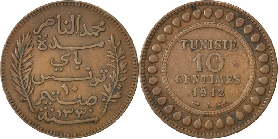 World Coins - TUNISIA, 10 Centimes, 1912, Paris, KM #236, , Bronze, 9.68