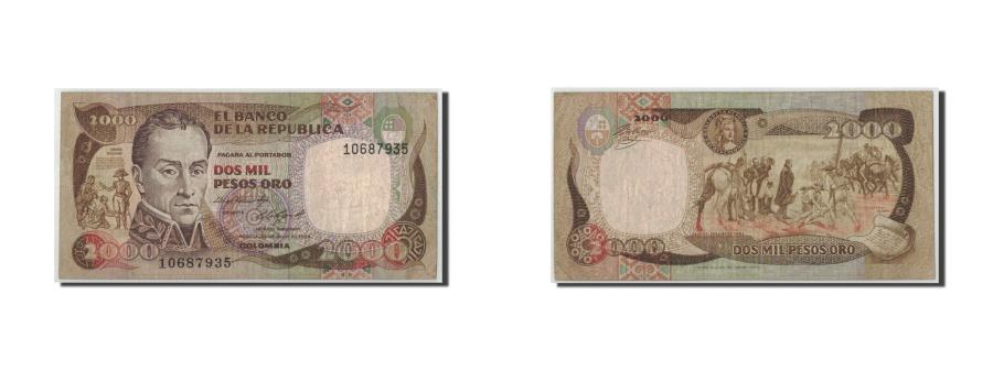World Coins - Colombia, 2000 Pesos Oro, 1984, KM:430b, 1984-07-24, F(12-15)