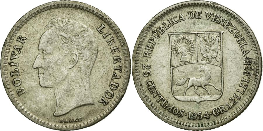 World Coins - Coin, Venezuela, 25 Centimos, 1954, EF(40-45), Silver, KM:35