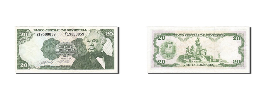 World Coins - Venezuela, 20 Bolívares, 1990, KM #63c, 1990-05-31, EF(40-45), Y 19500059