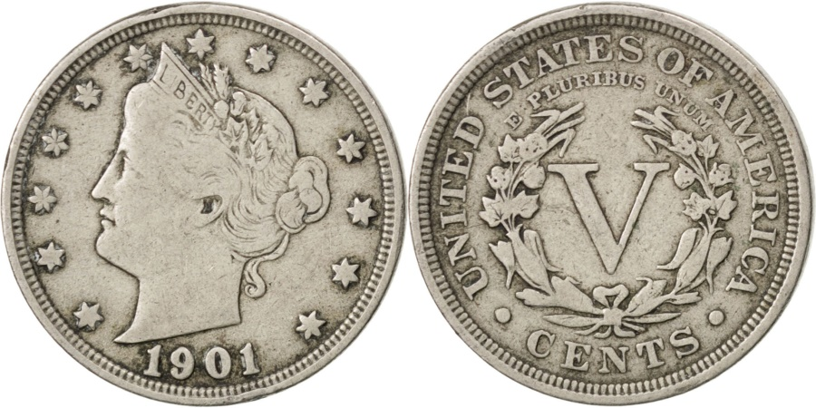 US Coins - UNITED STATES, Liberty Nickel, 5 Cents, 1901, U.S. Mint, KM #112, ,...