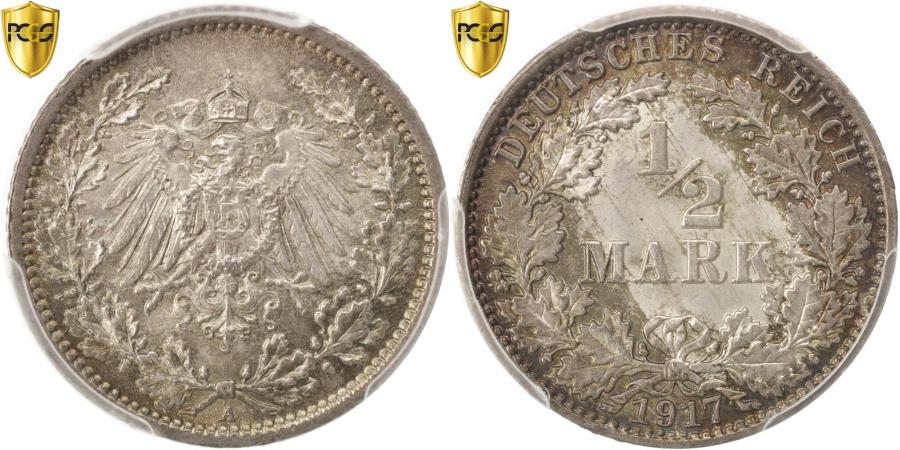 World Coins - Coin, GERMANY - EMPIRE, 1/2 Mark, 1917, Berlin, PCGS, MS67, , Silver