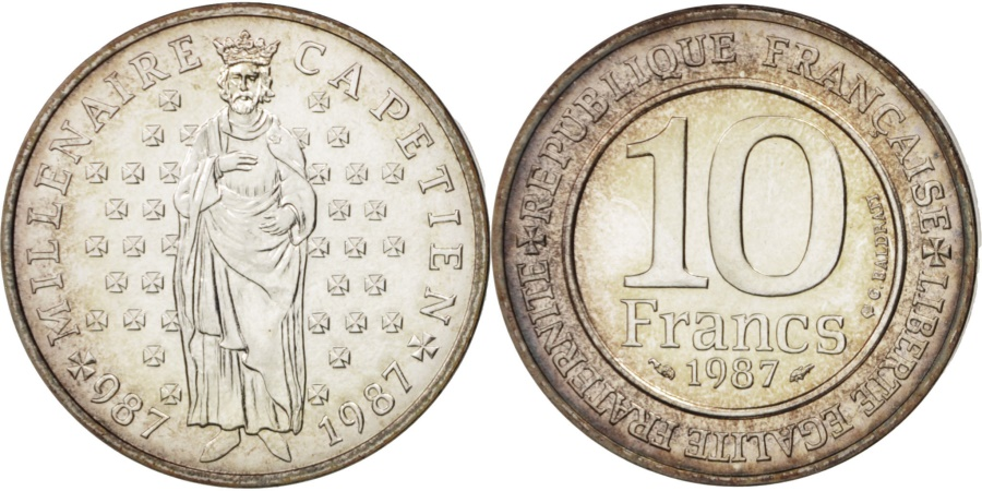 World Coins - France, Hugues Capet, 10 Francs, 1987, , Silver, KM:961, Gadoury:820