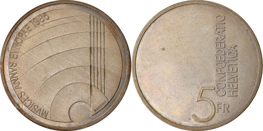 World Coins - Coin, Switzerland, Année européenne de la musique, 5 Francs, 1985,