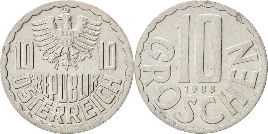 World Coins - AUSTRIA, 10 Groschen, 1988, Vienna, KM #2878, , Aluminum, 20, 1.06